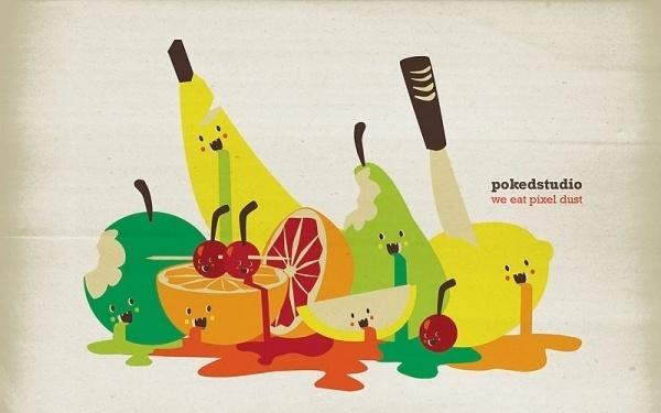 cute vector fruit #design #fruit #illustration #art #drawing
