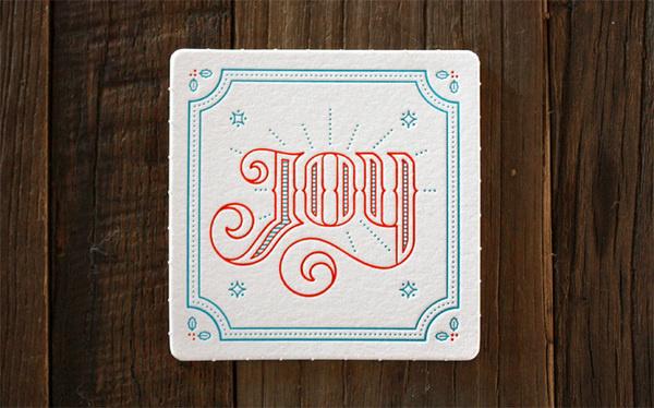 Miles Design 2013 Holiday Coaster Set #christmas #joy #coasters #letterpress
