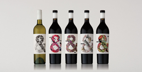 Hither & Yon Packaging #bottle #packaging #wine #ampersand #typography