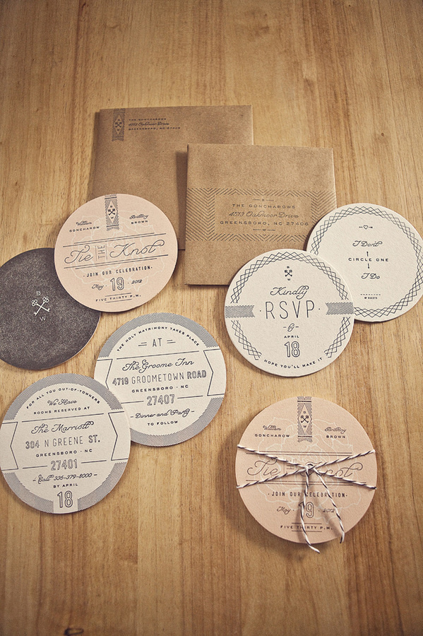 Goncharows Coaster Wedding Invites #wedding #invite #line #craft #paper #coaster #work