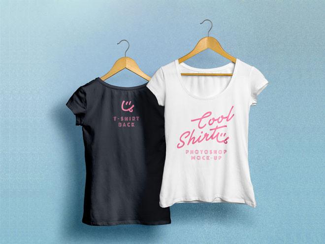 Free Realistic Woman T-Shirt Mockup PSD