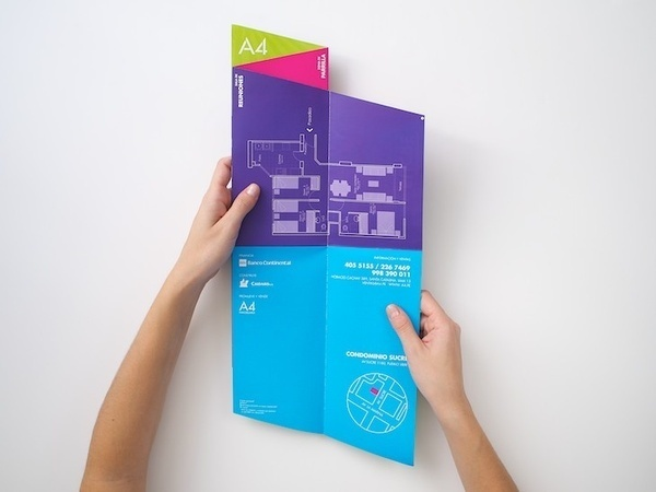 Brochure Cool Fold! I wonder how it would sit in a rack. Must have to chop off the bottom. #fold #brochure