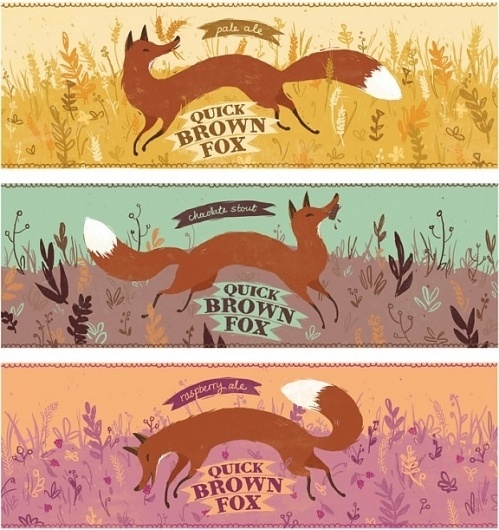Quick Brown Fox beer, a playful concept by Bree Lundberg #beer #illustration #label