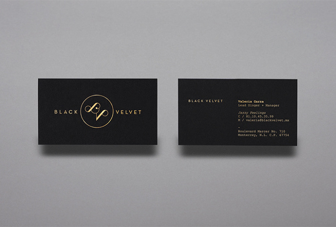 Black Velvet by NNATO #logo #mark #gold #stationary #print #business #card