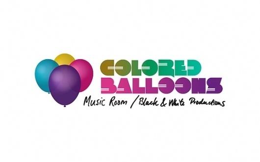 Colored balloons logo on the Behance Network #moder #handwriting #balloon #gradient #music #logo