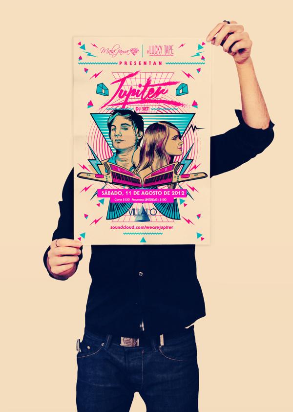 Jupiter Poster on Behance #fluo #set #dj #80s #poster