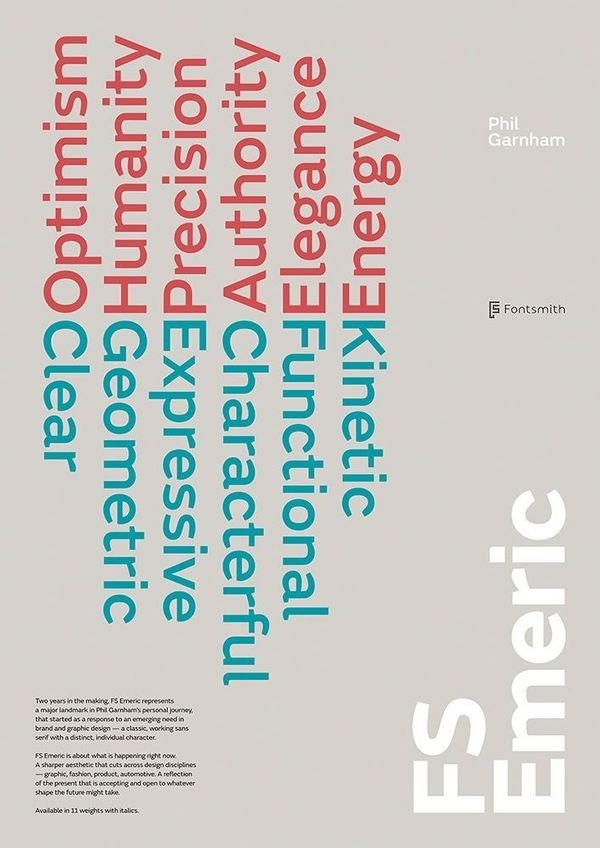 FS Emeric launch poster by Believe in® #fontsmith #fs #geometric #emeric #poster