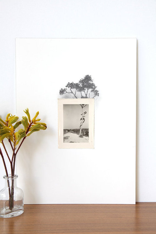 Drawing with Vintage Photos This beautiful project by Spencer Studio, features vintage photos with a very detailed drawing extending the sce #photos #drawings #vintage