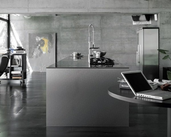 Stylish design kitchen with large abstract painting
