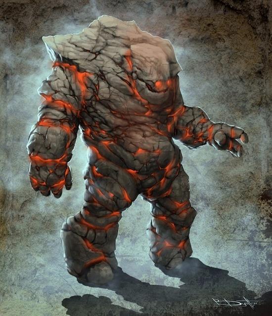 Golem #fantasy #golem #illustration #fire #magic #monster #character