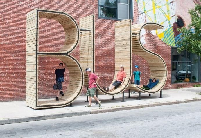 BUS STOP that form the letters BUS - JOQUZ #urban #bus #city #art #typography