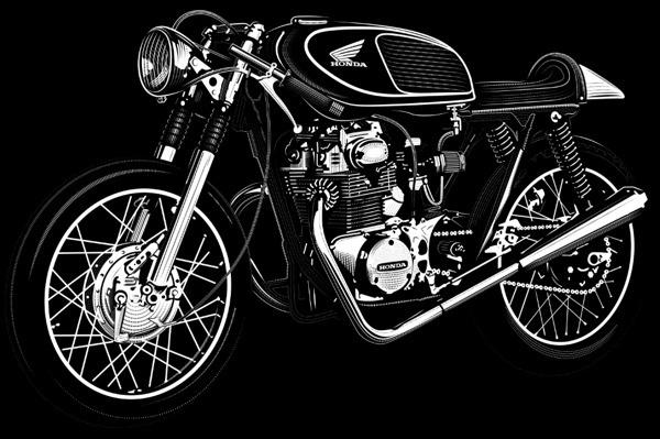 david cran honda cb350 illustration poster #cafe #cb350 #racers #motorcycles