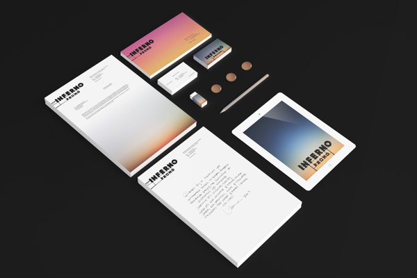 Inferno Identity on Behance #personal #lettering #branding #sky #sign #ipad #mockup #color #stationery #card #black #identity #sunrise #gradient #shadow #hotel #logo #pencil #typography