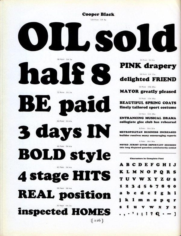 Cooper Black type specimen #type #specimen #typography