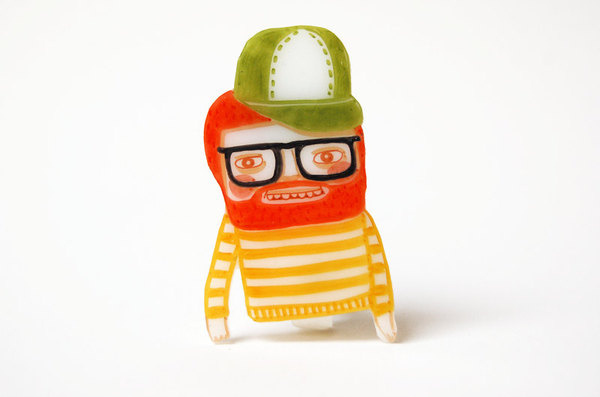 TOBIAS shrink plastic brooch, beardy red haired friend #pictoplasma #redhead #ginger #character #brooche