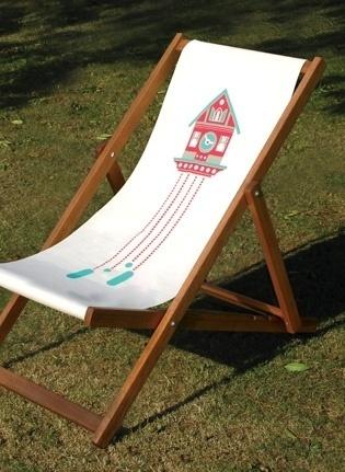 Made By Morris #printed #silkscreen #red #pink #deck #chair #blue #aqua #hand