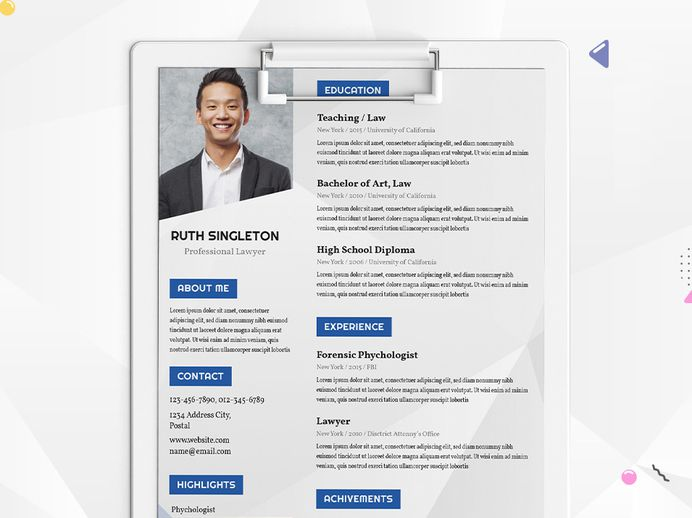 Free Lawyer Resume Template with Clean Design