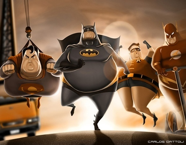 Fat SuperHeroes #hero #illustration #art