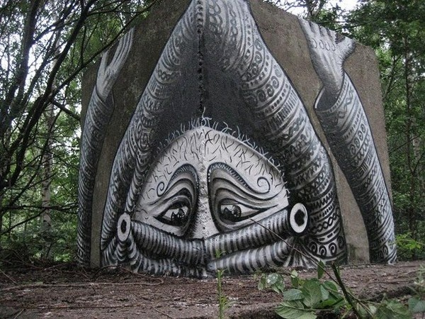 Black and white in artists street art #abstract #surrealism #art #street #surreal
