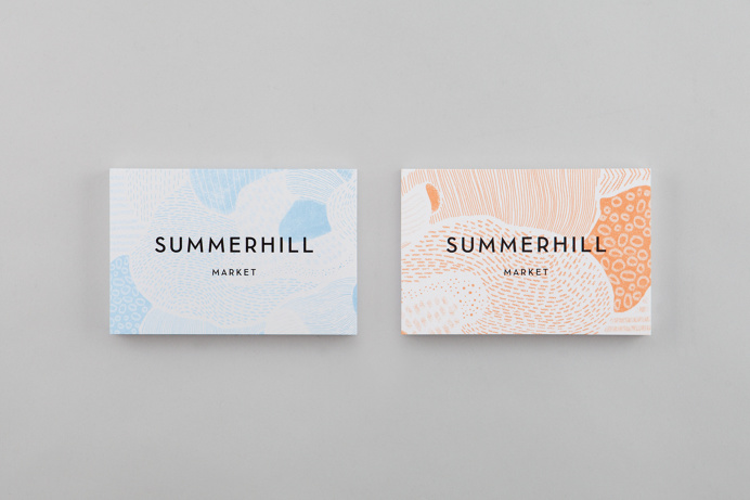 Logotype, illustration and notecards designed by Canadian studio Blok for Toronto based boutique grocery store Summerhill Market