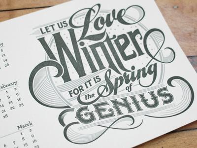 Winter Letterpress Calendar Card #type #calendar #letterpress #typography