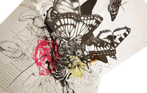SS10 Invite Design #butterflies #illustration #ink #flowers