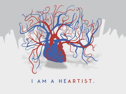 """I AM A HEARTIST."" #funktion #form #boris #i #a #hoepf #black #illustration #la #graphica #fucks #heartist #milk #blackmilkminusbox #viva #am"