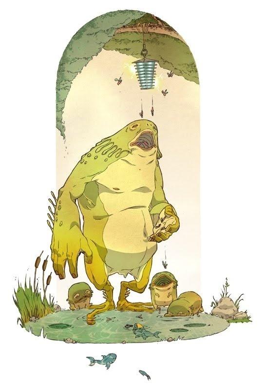 Amphibian - Greig Rapson #fantasy #nouveau #swamp #illustration #magic #art #character #creature
