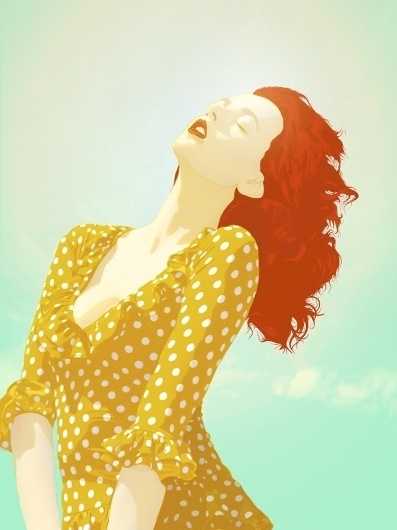 The Body Electric on the Behance Network #sun #vector #red #woman #illustrator #sunshine #redhead #hair #illustration