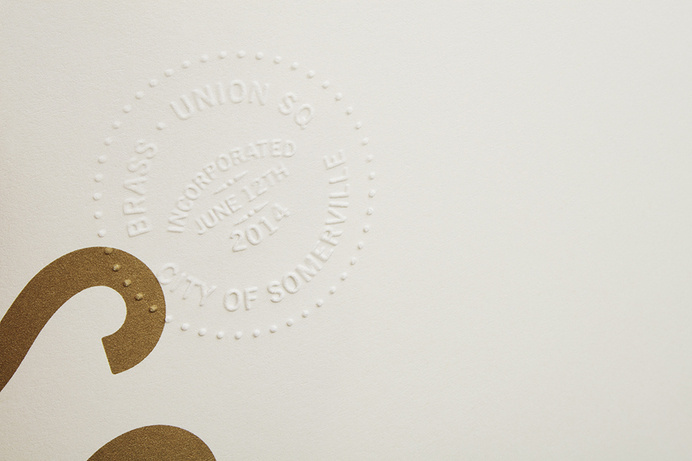 Blind emboss and bronze metallic ink detail for Somerville pub and cocktail bar Brass Union designed by Oat #identity