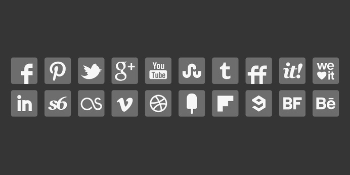 Grey Social Media Icons #corners #round #icons #grey #gray #media #social