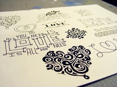 Custom Wedding Type Sketches by Debbie Clapper #drawn #lettering #hand #typography