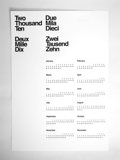 AisleOne — Limited Edition 2010 Letterpress Calendar #limited #white #edition #print #calendar #design #black #poster #and #typography