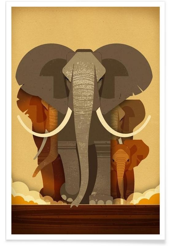 Elephants Illustration by Dieter Braun #illustration #animal #geometric #minimal #iconn #iconic #elephant
