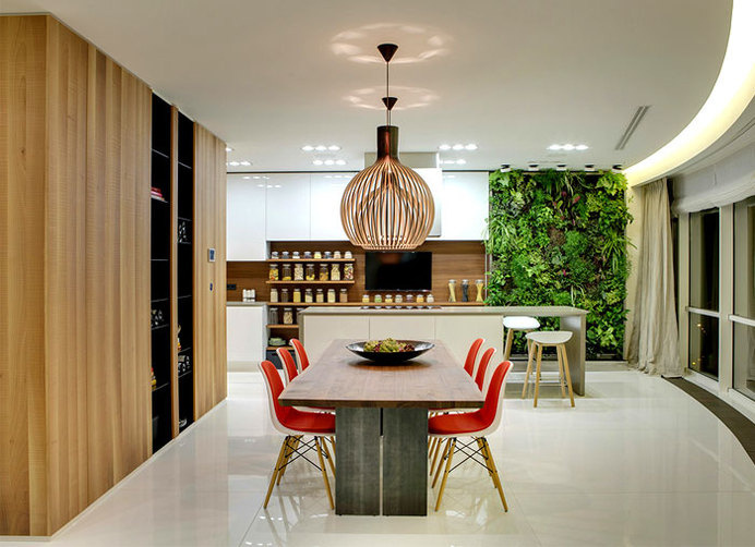 Moscow Apartment Created for a Young Family vital plant life wall decor #interior #dining #design #wall #table #room #green