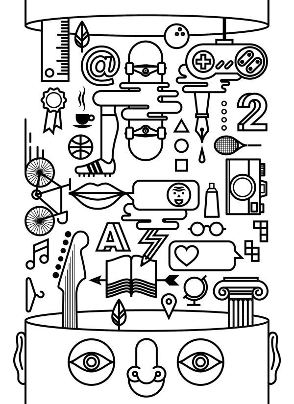 Free Futool on Behance by Sergi Delgado #line #black and withe #sergi delgado #illustration #italy #head #think #free #barcelona #design #gr