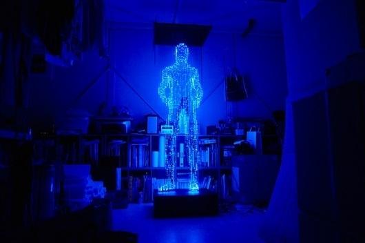 Light Sculptures by Makoto Tojiki | Colossal #man #light #led #glow