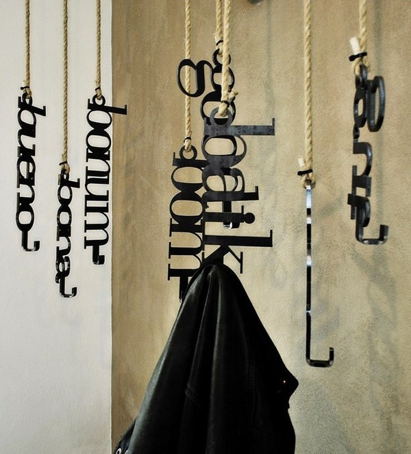Artistic design of clothes hangers #artistic #pizzeria #decor #restaurant #art #pizza #decoration