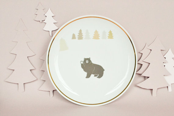 Bord met beer en bomen #illustration #etsy #studiorobinpieterse
