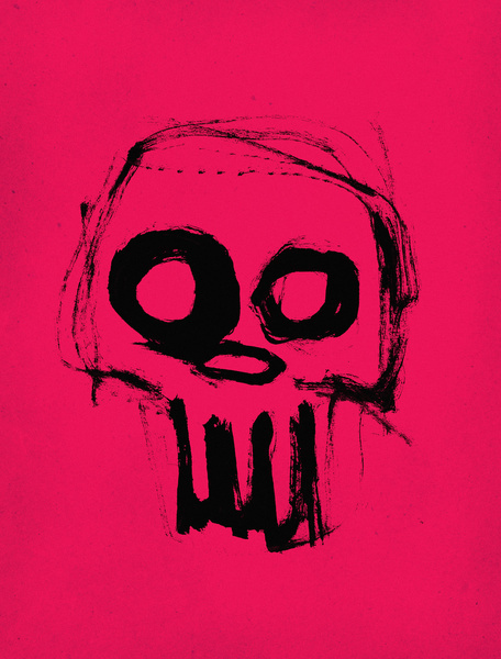 Skull on pink Art Print #ink #print #illustration #art #skull
