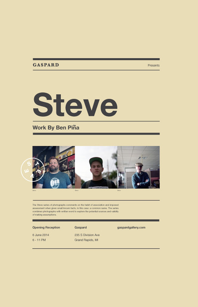 Gaspard Presents: Steve 02 #pattern #modern #contemporary #minimal #poster #type #helvetica
