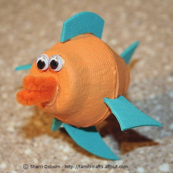 Egg carton craft for kids #diy #fish #sea