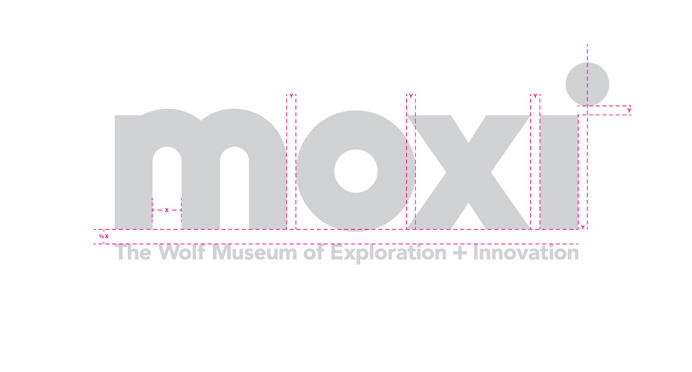 MOXI, The Wolf Museum of Exploration + Innovation #museum #logo #type #wormark #grid