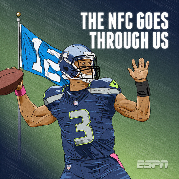 ESPN NFL Illustrations TIM™ #seattle #nfl #russ #wilson #illustration #sports #superbowl #seahawks #football #drawing #quarterback