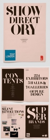 Tent London Directory | AisleOne #serif #print #display #directory #mono #type #brochure #typography