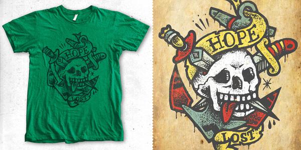 hope lost T shirt design by chriskillerartworx Mintees #rockroll #tattoo