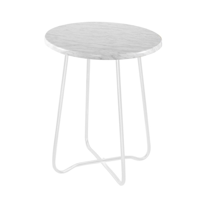 Jessica Marble Side Table Matte White 47cmH x 39cmD