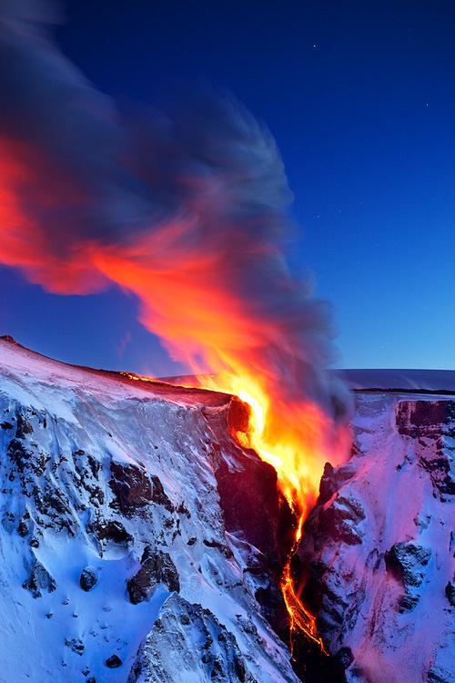 Sleepless Dreams | oecologia: Lava Falls(Iceland) bySnorri... #mountain #lava #snow #photography #fire #nature #eruption #volcano #iceland