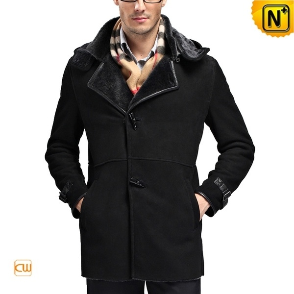 Hooded Sheepskin Shearling Coat for Men CW868903 #sheepskin #shearling #coat