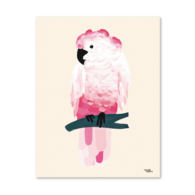 #nordic #design #graphic #illustration #danish #bright #simple #nordicliving #living #interior #kids #room #poster #cockatoo #bird #pink